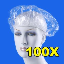 100pcs/lot Disposable Shower Caps Hat Clear Spa Hair Salon Hotel One-Off Bathing Elastic Shower Cap Bathroom Products Bath Caps