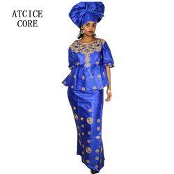 Vestidos africanos para las mujeres 100% algodón nueva Moda Africana Deisgn baizn riche bordado Diseño vestido ropa Africana DP193 #