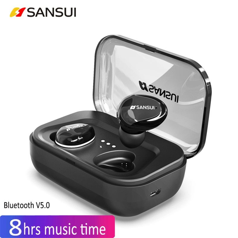 TWS Invisible Mini Earphones 3D Stereo Hands-free Noise Reduction 5.0 Bluetooth Headset Wireless Earphones and Power Bank Box