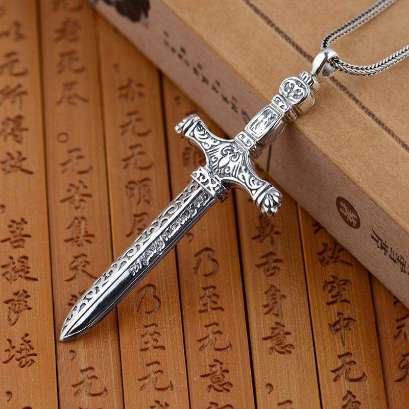 GZ 925 серебряный крест кулон 100% чистого S925 Solid тайский серебряный меч Подвески для Для мужчин ювелирных изделий
