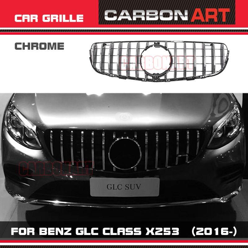 W253 AMG-style Front Racing Mesh Grill Grille for Mercedes-Benz W253 X253 GLC200 GLC250 GLC300 GlC450 Sport Version Silver 2017+