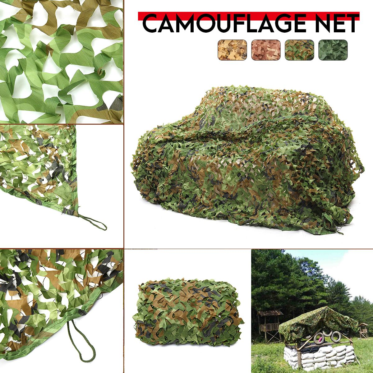 1.5x6m//2x5m/2x6m Camping Camo Net Army Woodland Jungle Camouflage Nets Hunting Shooting Shelter Hide Netting Sun Shelter