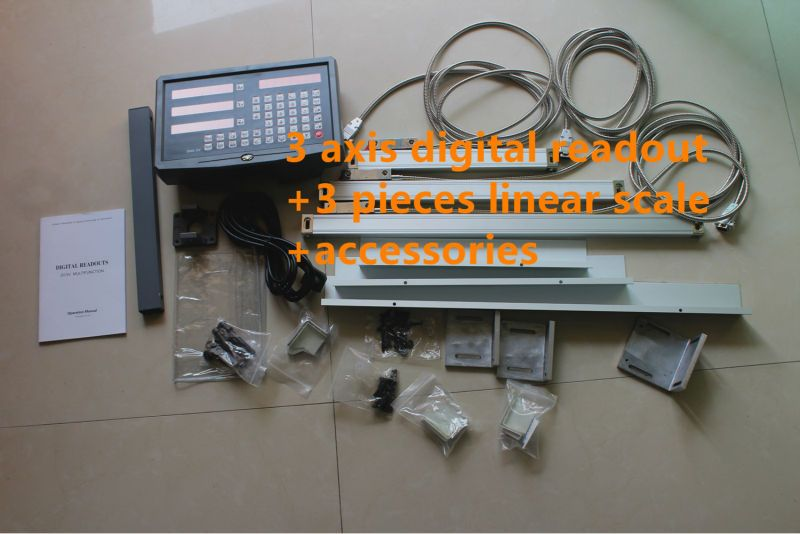 Good quality DRO 3 axis Digital Readout + 3 pieces linear scale travel 150-1020mm linear encoder complete dro unit