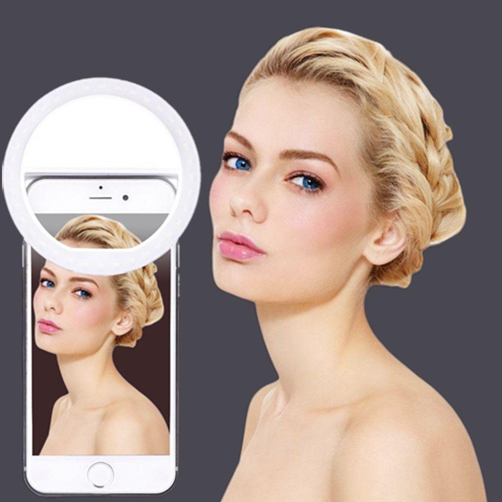 Selfie Portable Flash caméra LED téléphone photographie anneau lumière amélioration photographie pour iPhone Smartphone rose blanc noir