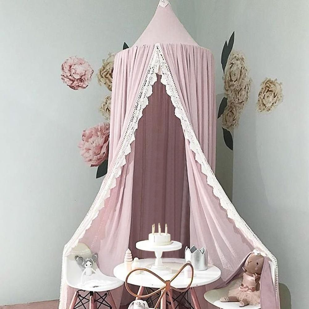 Baby Crib Netting Princess Dome Bed Canopy Childrens Bedding Round Lace Mosquito Net For Baby Sleeping