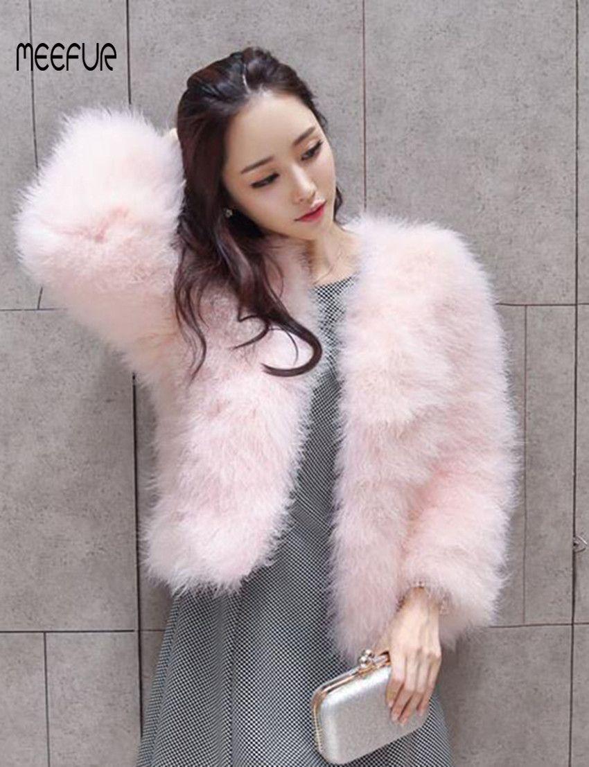 2018 New Fashion Real Ostrich Fur Coats Womens Turkey Fur Solid Jackets Popular Spring/Autumn Outerwear LX00790