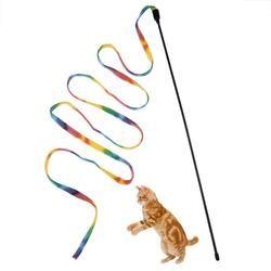 القط لعب لطيف مضحك الملونة قضيب دعابة العصا البلاستيك الحيوانات الأليفة للقطط التفاعلية عصا القط
