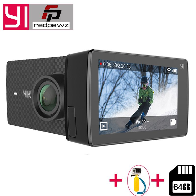 Add Free 64 GB SD Card For Xiaomi YI 4K+ Action Camera Ambarella H2 4K/<font><b>60fps</b></font> 12MP 155 Degree 2.19 RAW YI 4K Plus Sports Camera