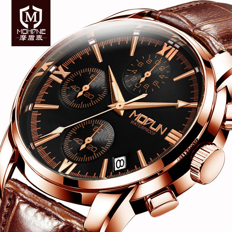 2018 Mens Wrist Watches Top Brand Luxury Leather Business Watch Multifunction Clock Multifunction Sport Saat Relogio Masculino