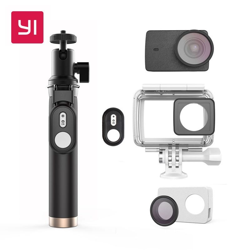 YI Actio Camera Waterproof Case With Selfie stick & Bluetooth Remote & Protective Lens & Leather case Underwater Sports