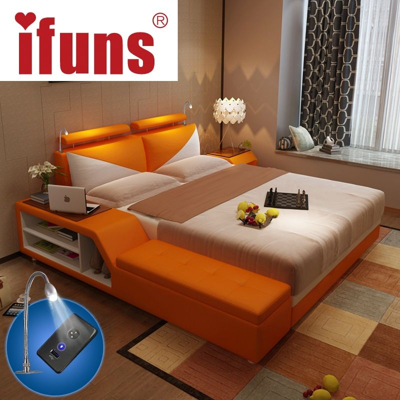 IFUNS luxury bedroom furniture sets king & queen size double bed frame genuine leather storage chaise tatami LED night USBcharge