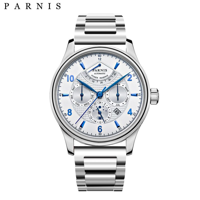 Parnis Top Brand Luxury Stainless Steel Automatic Watch Power Reserve Week Mooth Multifunctional Silver Watch for Men Gift Men