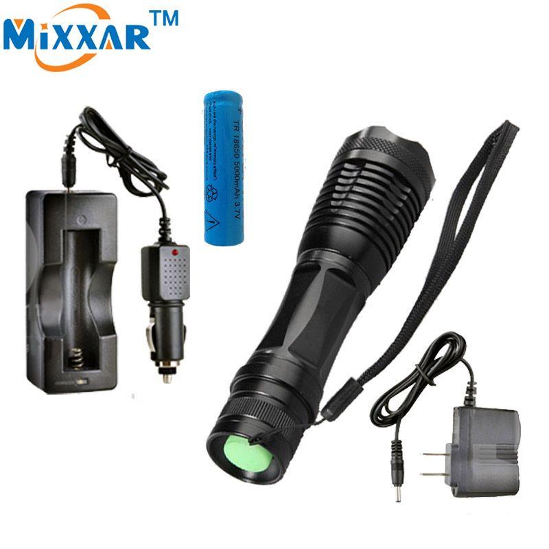 Nzk30 LED lampe de poche 8000 LM XM-L T6 Torche Zoomables led lampe de poche avec AC chargeur + batterie + chargeur de voiture