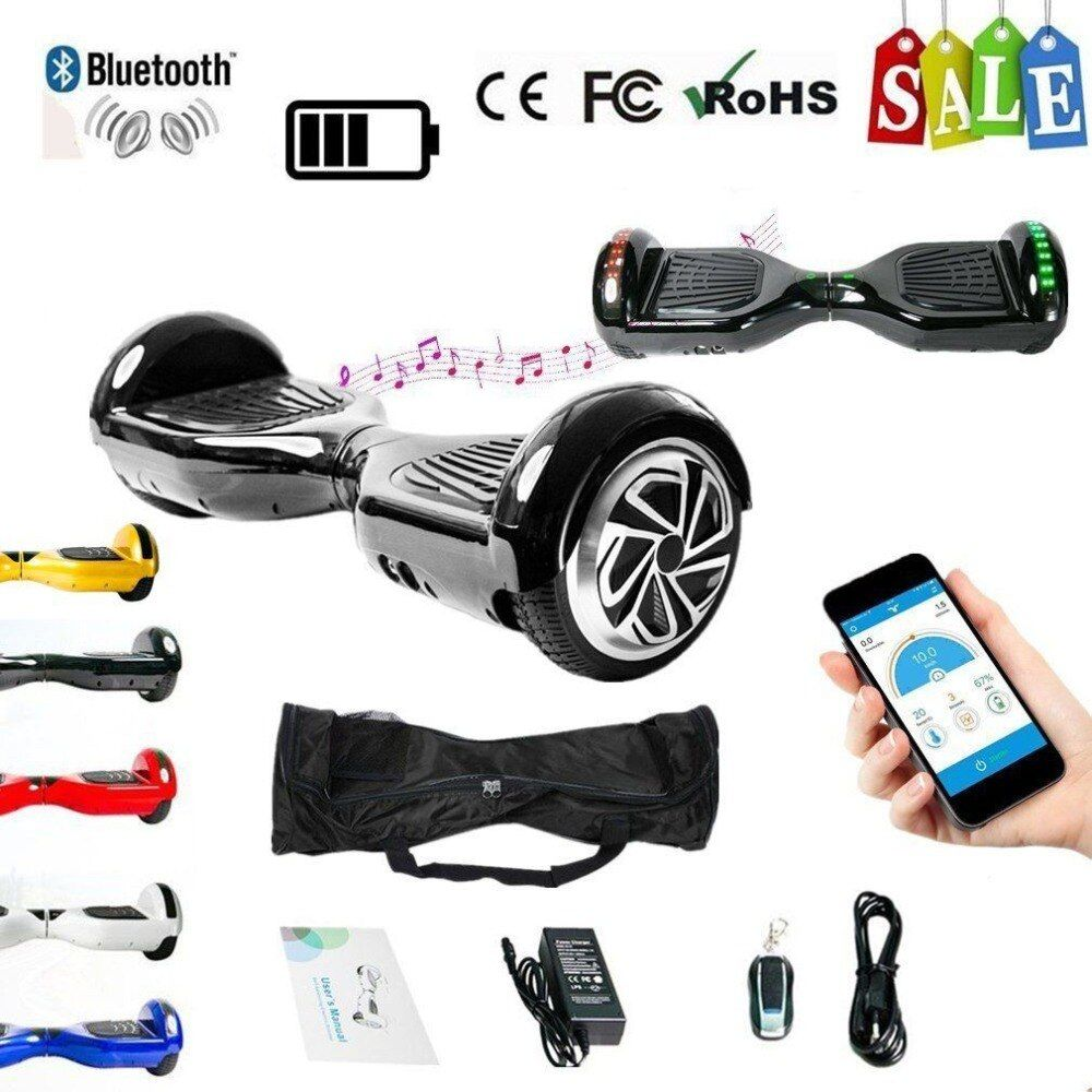 6.5 Inch Strong Power Skateboard Hoverboard Two Wheels Self Balance E-Scooter Hover Board With Carry Bag EU Plug