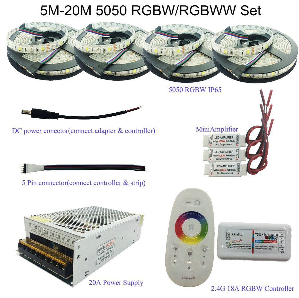 5050 <font><b>RGBW</b></font>/RGBWW LED Strip Set With 2.4G Touch RF Remote Controller+12V Power Supply Adapter+Amplifier 5M/10M/15M/20M for choice