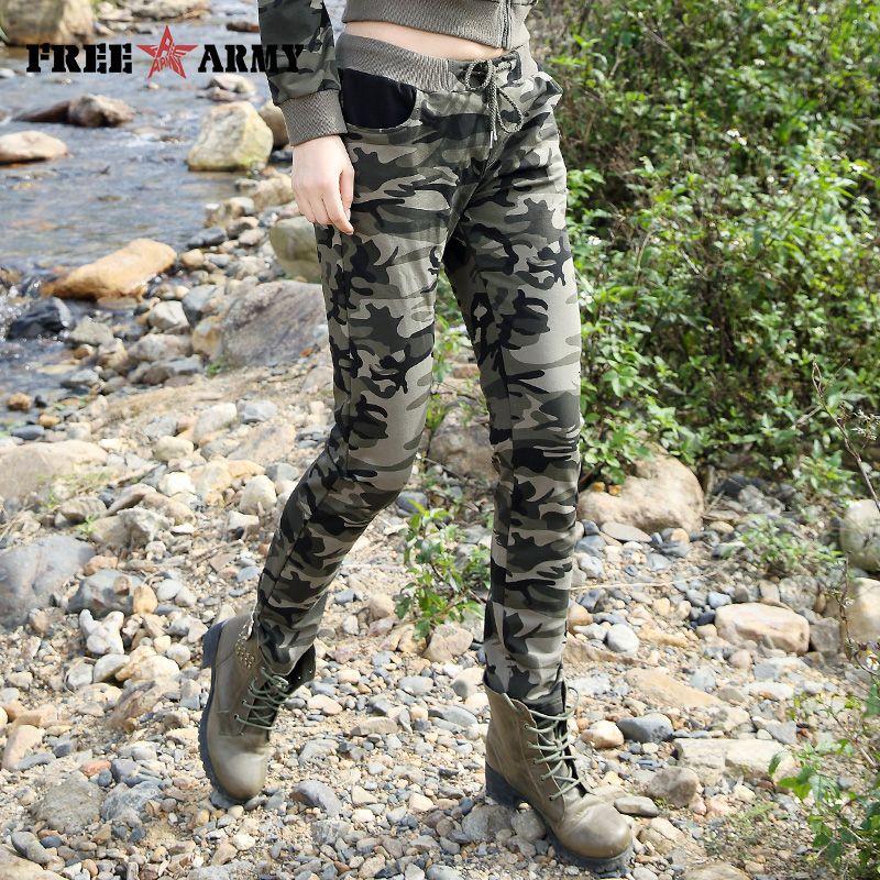 Tout nouveau printemps armée Camouflage pantalon femmes pantalons Slim dames pantalons militaires imprimer taille élastique mode pantalons décontractés femme