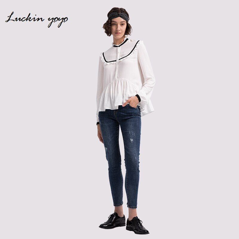 Lukin yoyo Jeans for Women Befree Push Up Scratched Mom Jeans Femme Lady Women's Jeans Vaqueros Mujer Skinny Pants