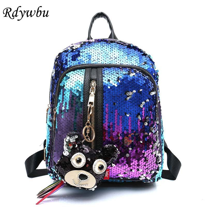 Rdywbu Women's Glitter Sequins Backpack New Teenage Girls Fashion <font><b>Bling</b></font> Rucksack Students Cute Pendant School Bag Mochilas B170