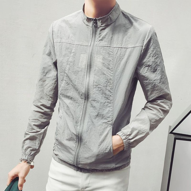 Sun protection clothing men's five-point sleeve handsome breathable thin jacket Korean version of the trend of thin #95057