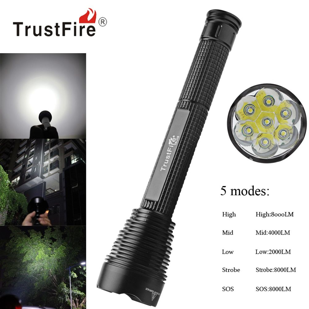 TrustFire J18 8000Lm Super Bright LED Flashlight Outdoor Waterproof Extended Torch Lamp 5 Mode 7 x XM-L2 LED Flash Light