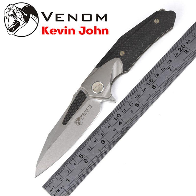 KEVIN JOHN VENOM ATTACKER Folding Ball bearing Flipper Knife M390 Titanium carbon fiber camp hunt survival outdoor knives tools