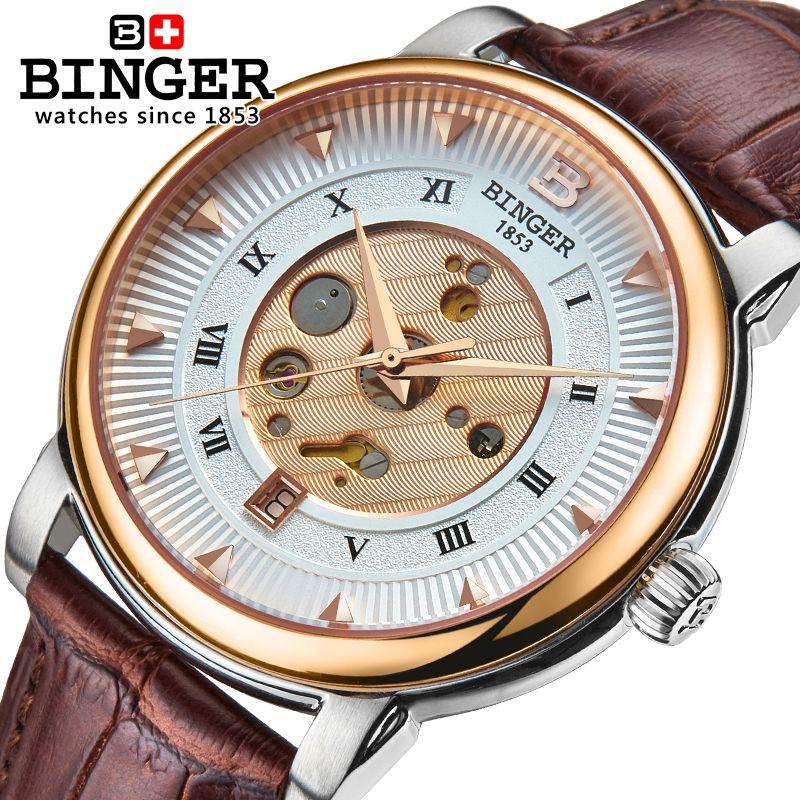 Wrist Watches Male Stainless Steel Skeleton Switzerland Automatic Mechanical Watch Men Reloj Hombre Sapphire Waterproof B-1160-4