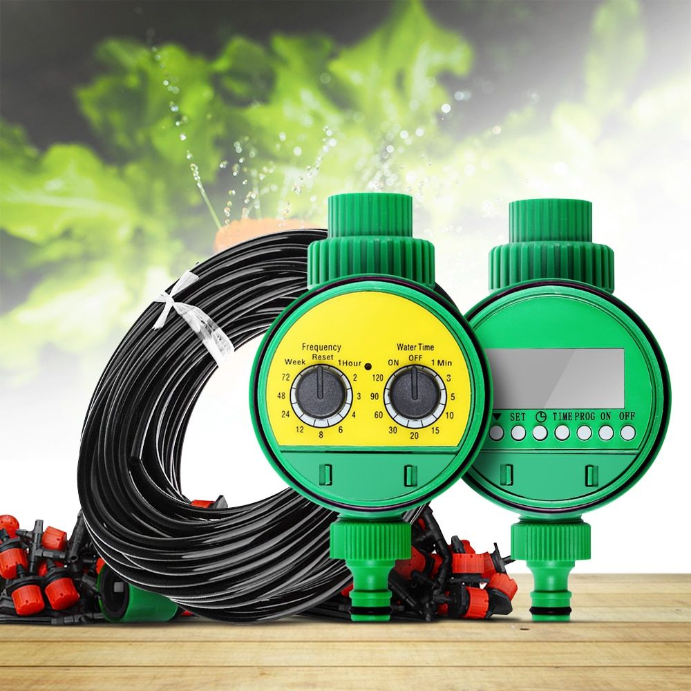 25m Micro Drip Irrigation System Plant Automatic Spray Greenhouse Watering Kits <font><b>Garden</b></font> Hose AdjustableDripper Sprinkler XJ30