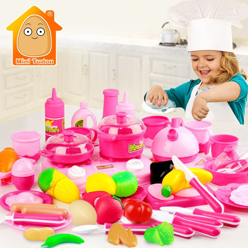 MiniTudou Classic Cooking Toys For Children 46PCS Pretend Play Cutting Food Set Kids Kitchen Educational Toy Play House Toys