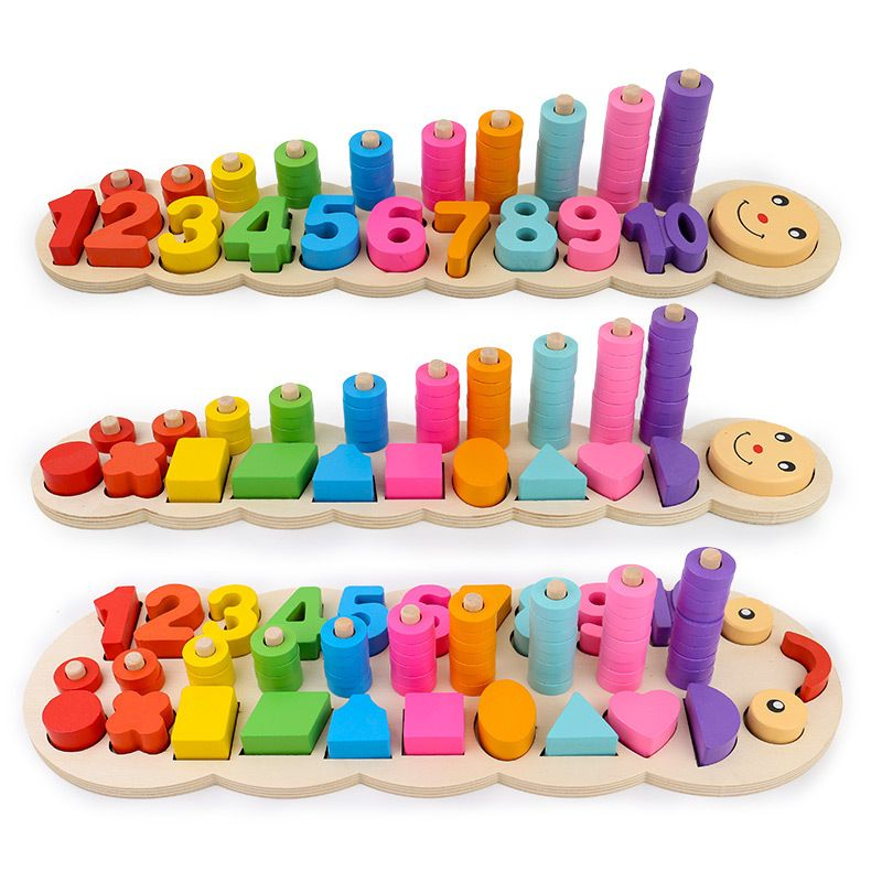 Safe Montessori coloful Children Preschool Teaching kids Counting and Stacking Board Wooden Math Toy learning educational toys