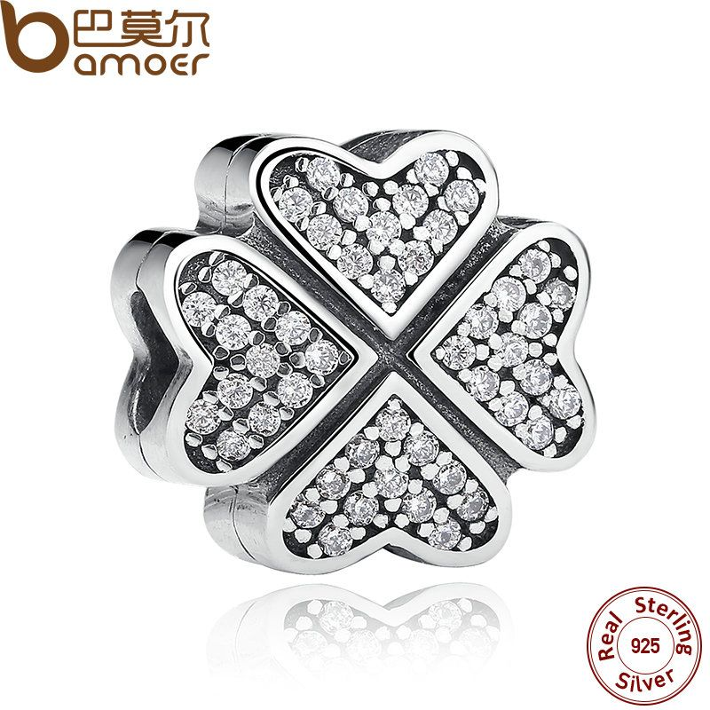 BAMOER Friendship Gift 925 Sterling Silver Clover Petals Of Love, Clear CZ Charms for Bracelet Girl Jewelry PAS266