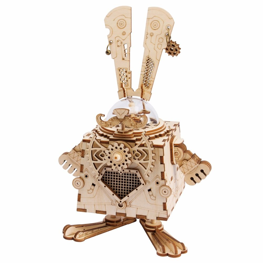 Robotime 3D Puzzle DIY Movement Assembled Wooden Rabbit Model for Children girls boys brain training gifts Music Box Bunny AM481
