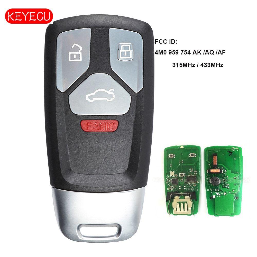 Keyecu Smart Remote Schlüssel 315 mhz/433 mhz 4 Taste für 2017-Up Audi A4 A5 Q7 2016 -Up TT FCC ID: 4M0 959 754 AK/AQ/AF