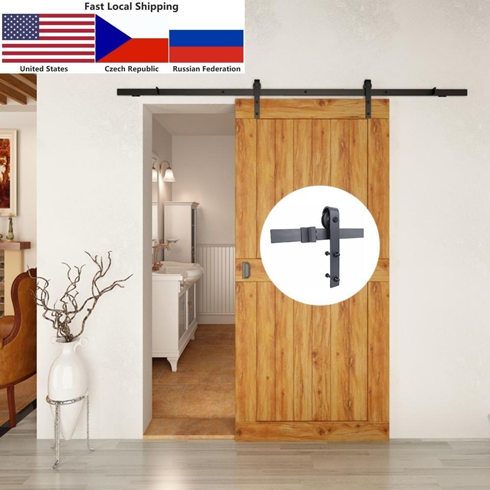 Quincaillerie de porte de grange en bois coulissante intérieure rustique en acier au carbone 4.9FT/6FT/6.6FT