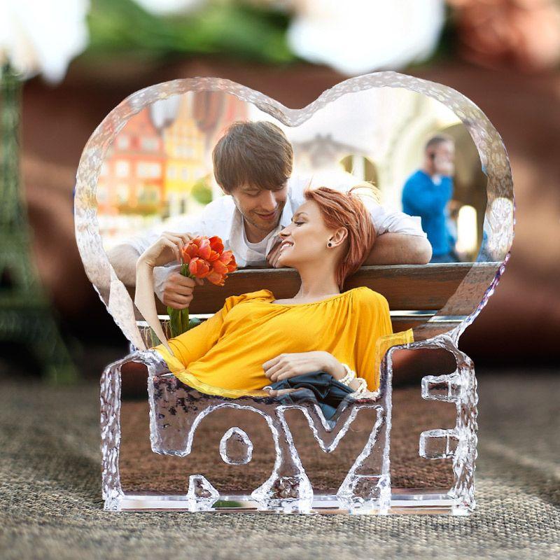 Romantique coeur forme cristal Miniature personnalisé verre artisanat amour cadeaux décoration pour la maison bricolage accessoires