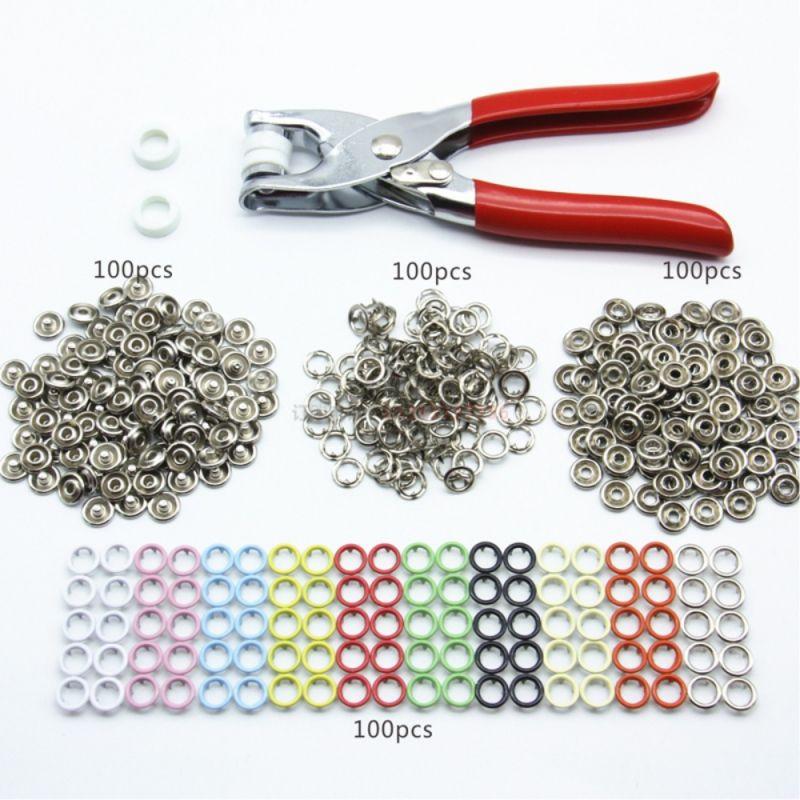 100 ensembles 9.5mm 10 couleurs métal broche anneau boutons pression boutons couture artisanat attache Snap pinces artisanat outil boutons pour vêtements