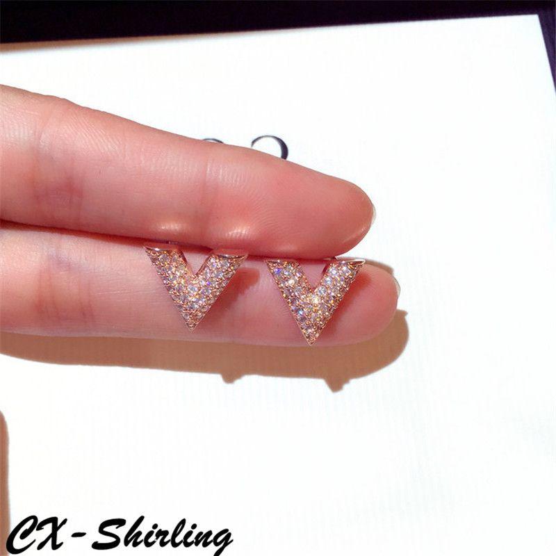 CX-Shirling qualité supérieure Femmes Anti-Allergie Boucle D'oreille Femelle Partie Plein Cristal Or & Argent V Forme Boucle D'oreille Fine