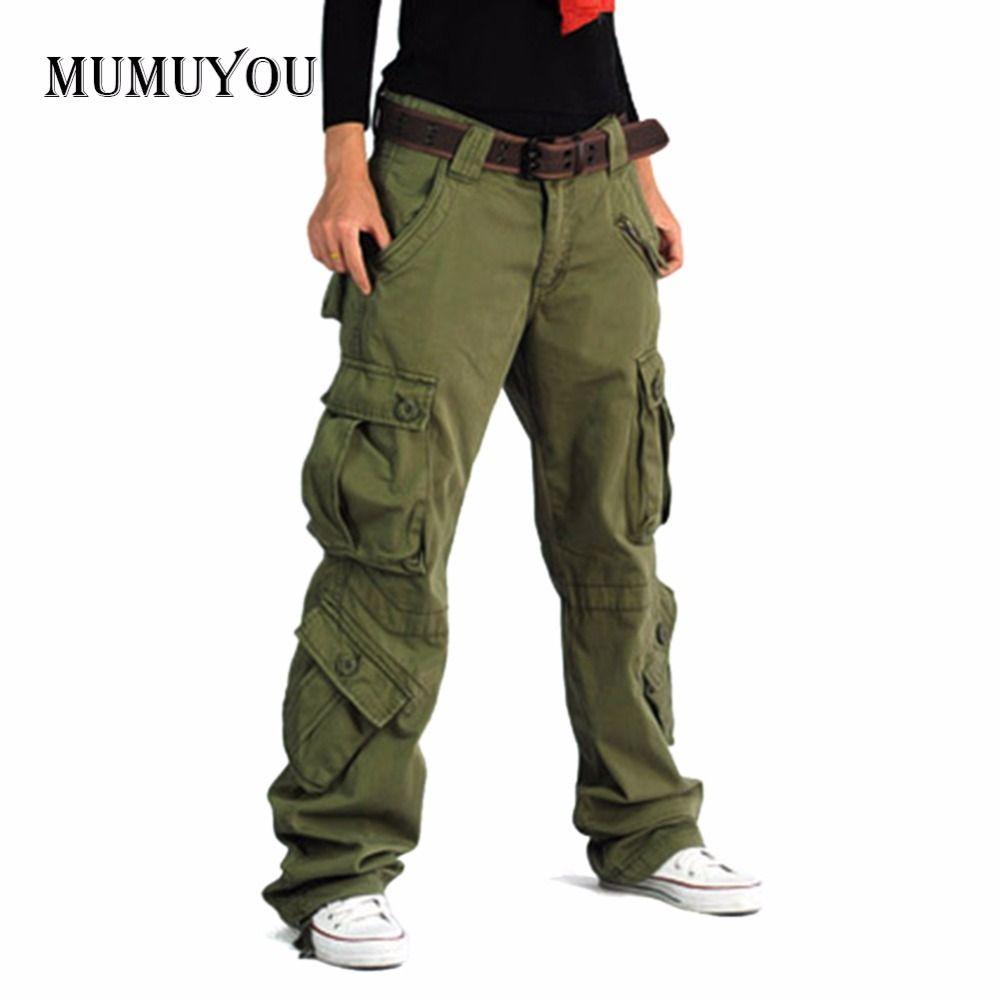 Для женщин грузов хип-хоп Мотобрюки Брюки для девочек свободные Военная Униформа карман Винтаж повседневная одежда Низ 045-967