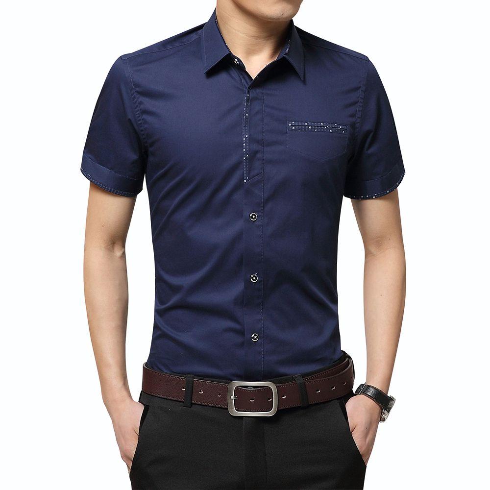 2017 Summer New Men's Shirt Brand Luxury Men Cotton Short Sleeves Dress Shirt Turn-down Collar Cardigan Shirt Men Clothes