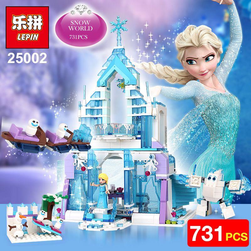 Lepin 25002 Snow World Series The Elsa`s <font><b>Magical</b></font> Ice Castle Set Building Blocks Bricks Toys Girl friend with 41148 birthday gift