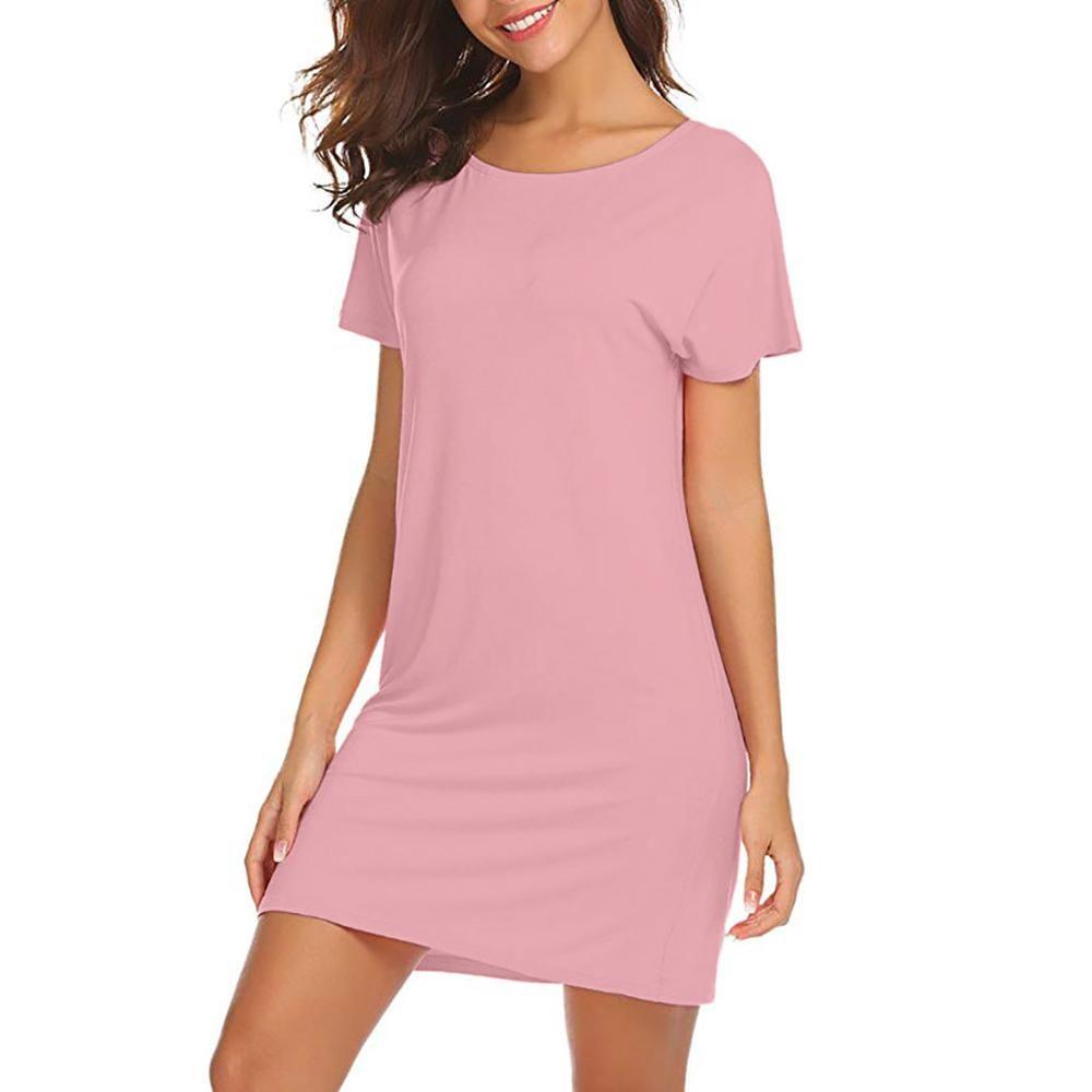 Feitong robe d'été femmes plage tenue décontractée nouveauté O cou manches courtes lâche dos évider Simple robe vestido