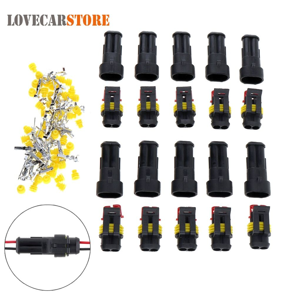 10pcs/set 2 Pin Way AMP Super Seal Waterproof Electrical Wire Connector Male Female Plug