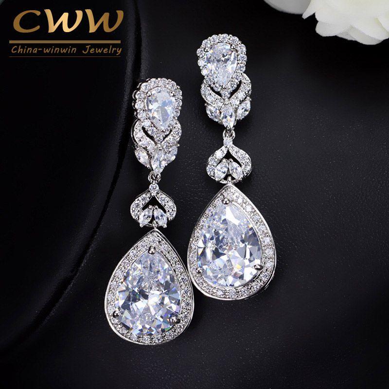 CWWZircons Elegant Water Drop Shaped Cubic Zirconia Crystal Bridal Long Earrings Luxury Wedding Jewerly For Brides CZ166