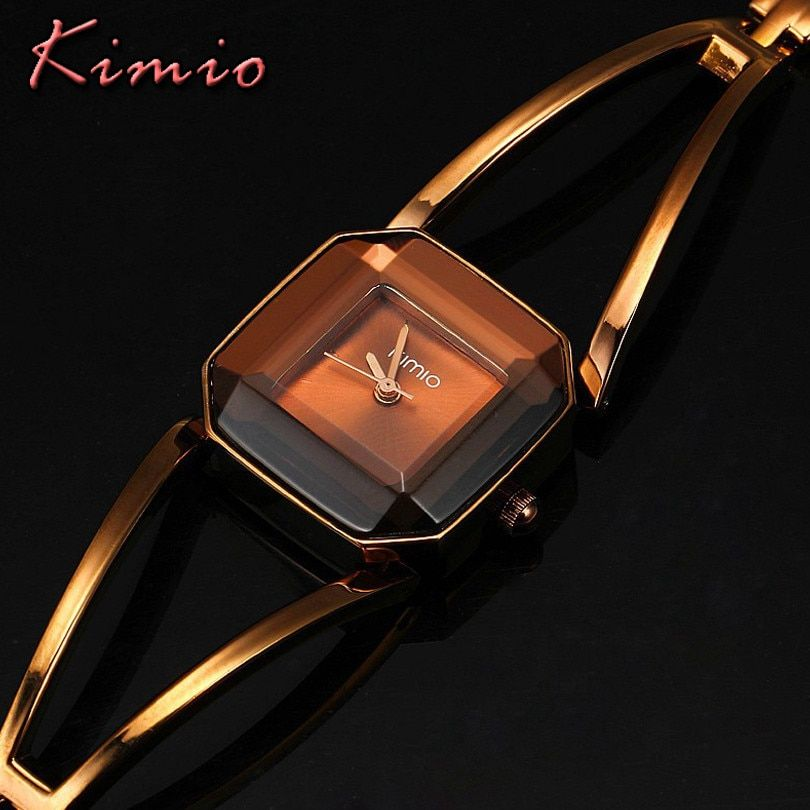 Famous Brand KIMIO Luxury Watch Women Square Quartz-Watch Stainless Steel Fashion Ladies Bracelet Watches Women Watches Female