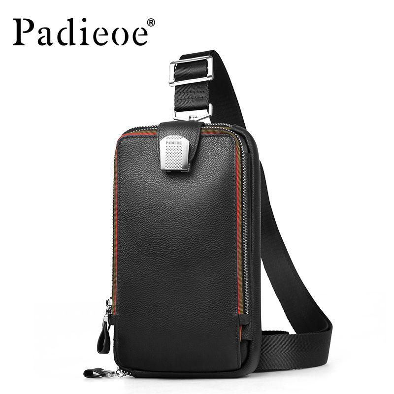 PADIEOE Men leather chest bag Casual <font><b>crossbody</b></font> bag Men's clutch bag high quality chest waist pack genuine leather shoulder bags