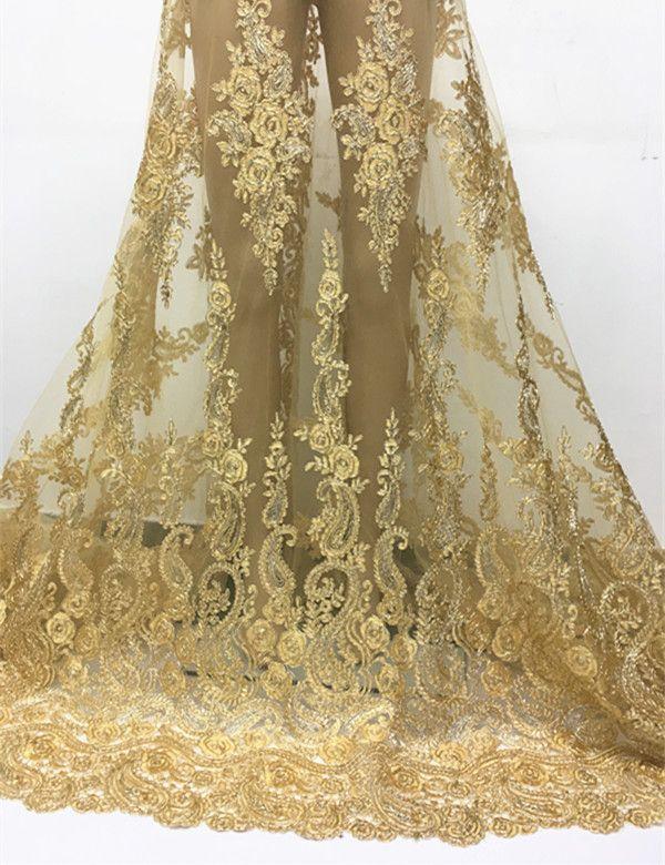DPN3101 fil D'or Africain Tulle Dentelle tissu pour robe de soirée, 2016 Nouvelle arrivée Africain filet à mailles dentelle tissu en gros et au détail