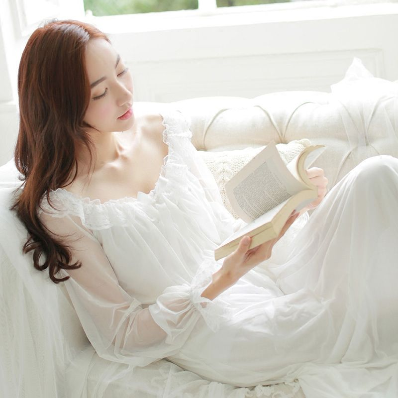 Ночная рубашка принцессы Для женщин летние с длинными рукавами пижамы Ретро полупрозрачные Кружево sress Sexy Ice Шелковый ночное Плюс Размеры