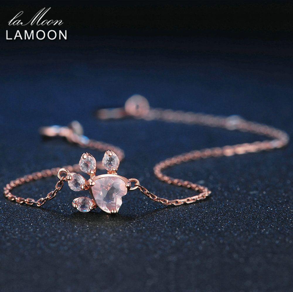 LAMOON Brand Paw Natural Heart Pink Gems Quartz Charm Bracelet Women 925 Sterling-silver-jewelry Love Anniversary Gifts LMHI005