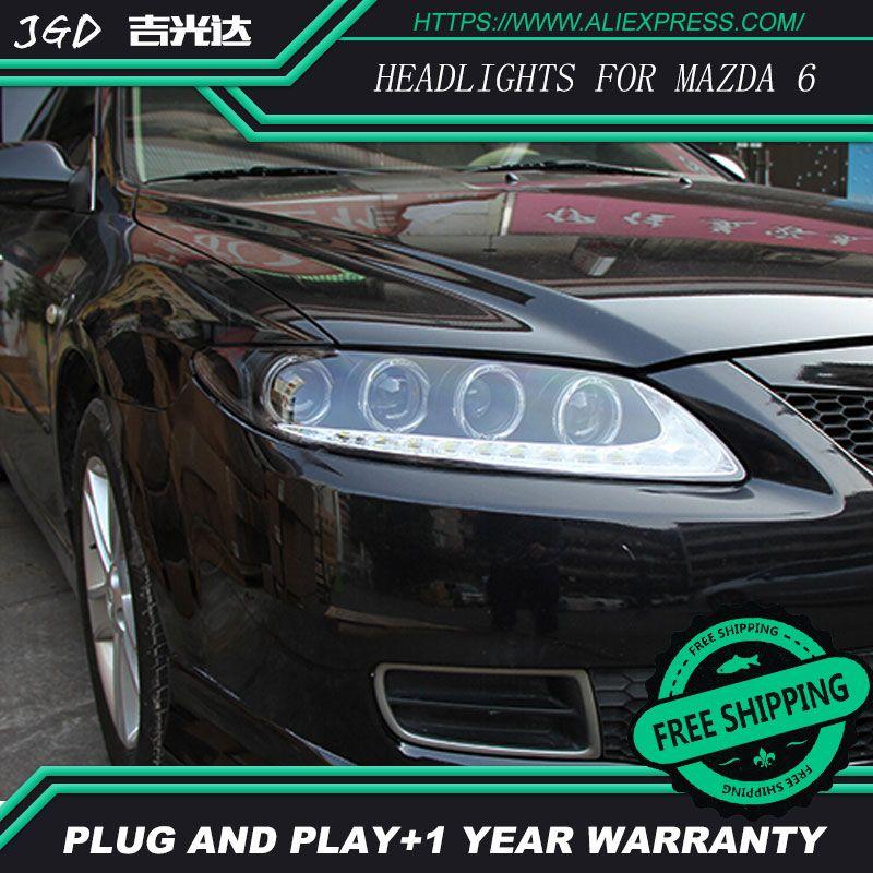 Free shipping ! Car styling LED HID Rio LED headlights Head Lamp case for Mazda6 Mazda 6 M6 2003-2013 Bi-Xenon Lens low beam