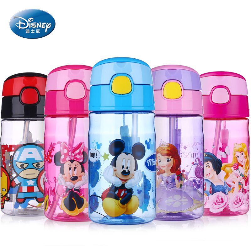 Disney Bebé Taza de Paja Botella 400 ML de alimentación Portátil Minnie Mickey Mouse del bebé a prueba de Fugas botella de agua del Niño nursery drinkware