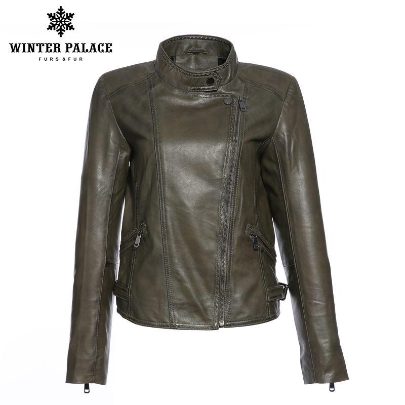 Retro style ladies lambskin leather jacket High-grade Leather jacket women Black sheepskin coat high quality coat